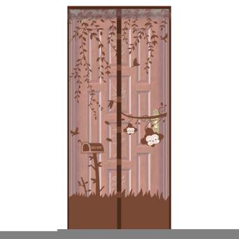 AIUEO Magic Mesh Tirai Magnet Anti Nyamuk Motif Monkey - Tirai Pintu Magnet - Coklat