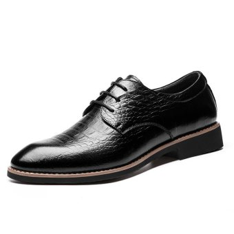 high-end Men's Flat Shoes Casual Brogues Men's leather shoes Formal Shoes pointed Derby WSS609N132K(black) - Intl