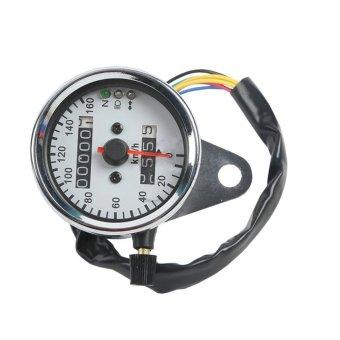 LED Universal Backlight Motorcycle Dual Odometer Speedometer Speed Gauge (Intl)