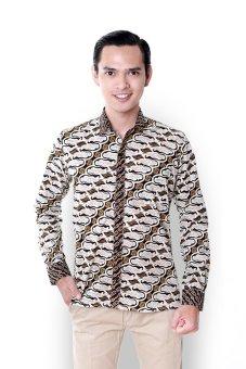 Balin Batik Slim Fit Pria Coklat Lengan Panjang