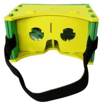 Cardboard EVA Leather Frame 3D Virtual Reality for Smartphone - Hijau-Kuning