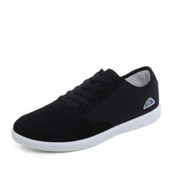 Men's Shoes Casual Canvas Shoes New Fashion Recreational Lace Up Shoes Platform Black- Intl