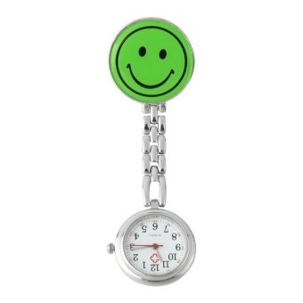 OEM Smile Face Nurse Fob Watch Clip Watch Medical Use Pocket Quartz Clasp Watch Green- Intl