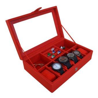 Jogja Craft - Kotak Jam Tangan Mix Tempat Accesories - Watch Box Organizer Merah