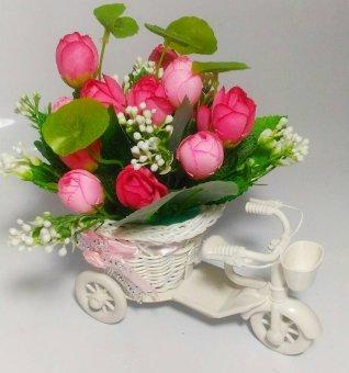 Tanaman Rangkaian Bucket Buket Bunga Mawar Pohon Plastik Artificial Artifisial Sintetis Pot Vas Rotan Hiasan -