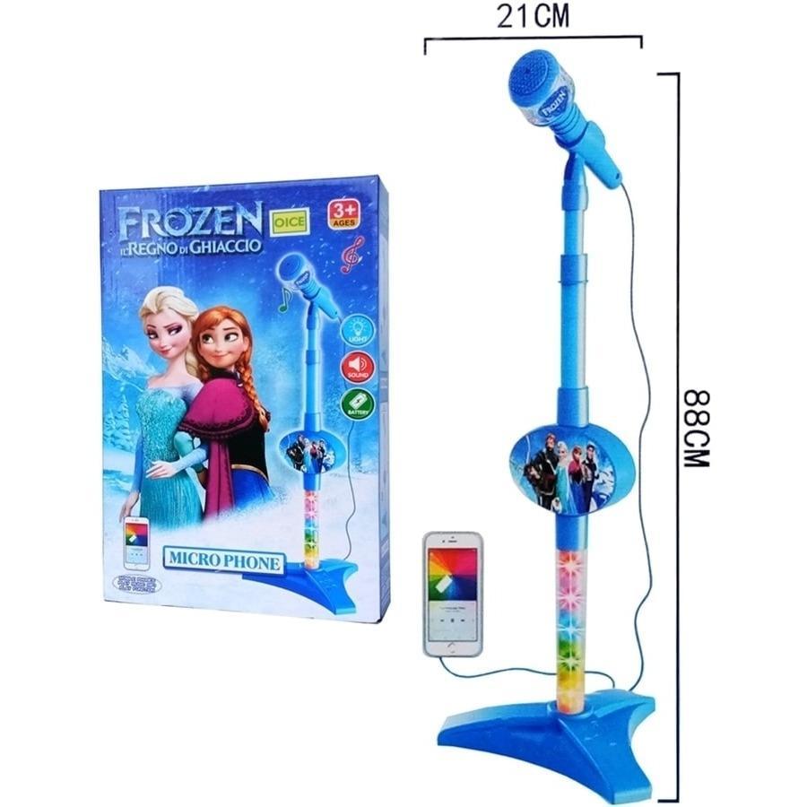 Microphone Frozen Biru 8016a - Kado Mainan Anak Mic Nyanyi Baru