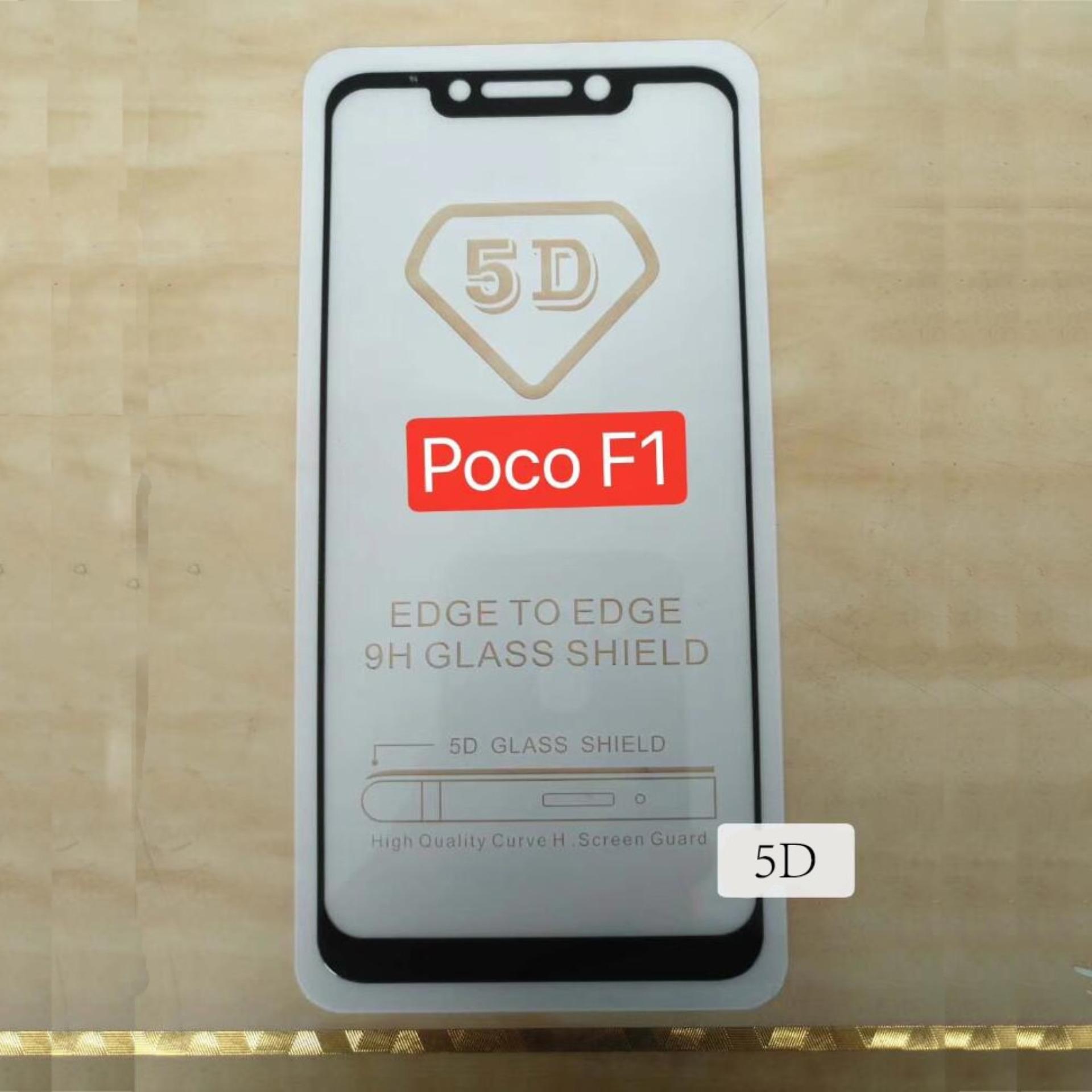 Caselova Premium Full Cover Tempered Glass 5D Round Curved Edge For Xiaomi Pocophone F1 - Black
