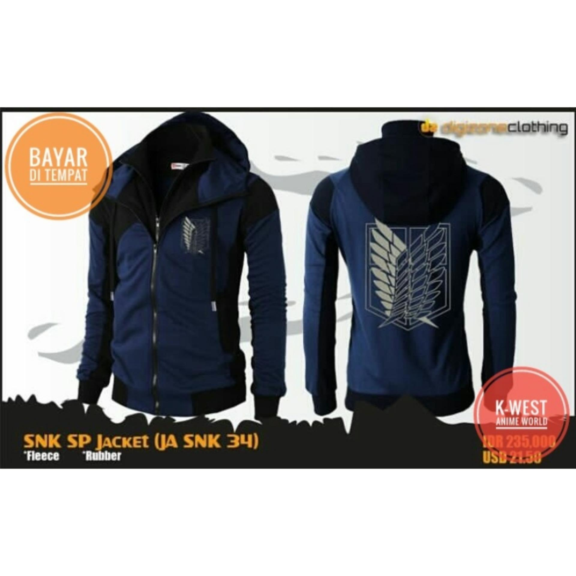Harga Jaket Anime Attack On Titan Navy Double Zipper Hoodie Best Seller Terbaik