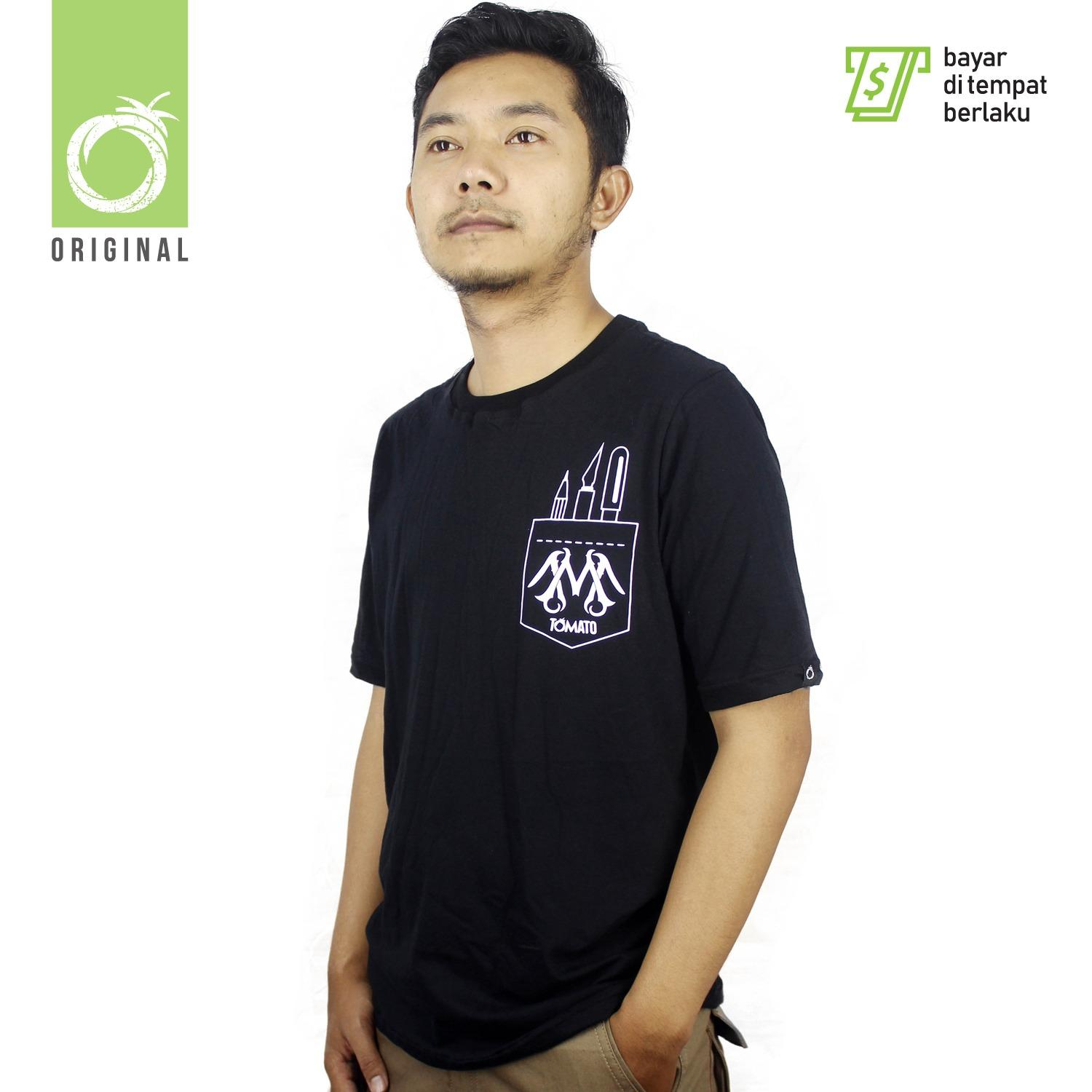 Review Tomato Clothing Original Kaos Pria Pocket Logo Hitam Terbaru