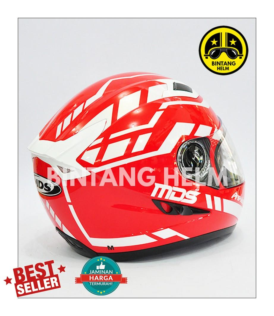 ... Helm Full Face MDS Provent Motif Red White - 3 ...