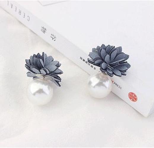 anting fashion korea stud earring bunga mutiara flower pearl jan122 - 2 .