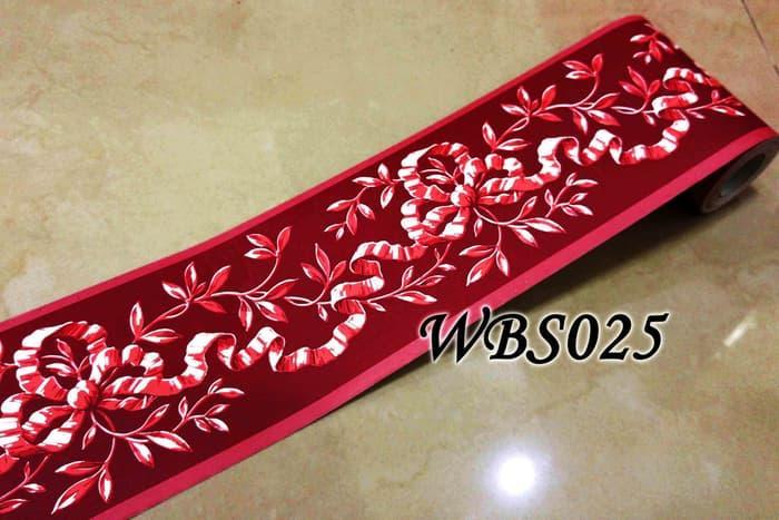 WALLPAPER STIKER DINDING MURAH WBS025 : RED N RIBBON 10 CM WALL BORDER STICKER 10MX10CM