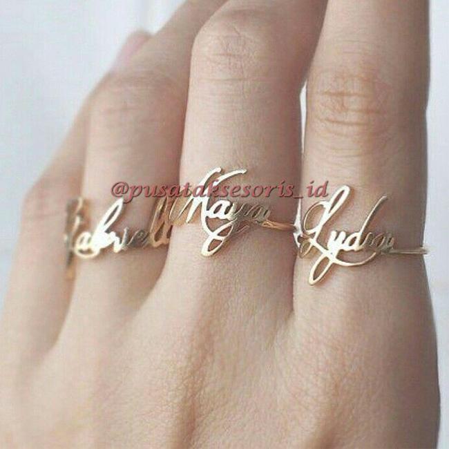 Jual Cincin Nama Gold Lapis Emas 24 Karat Bisa cetak sesuai nama sendiri
