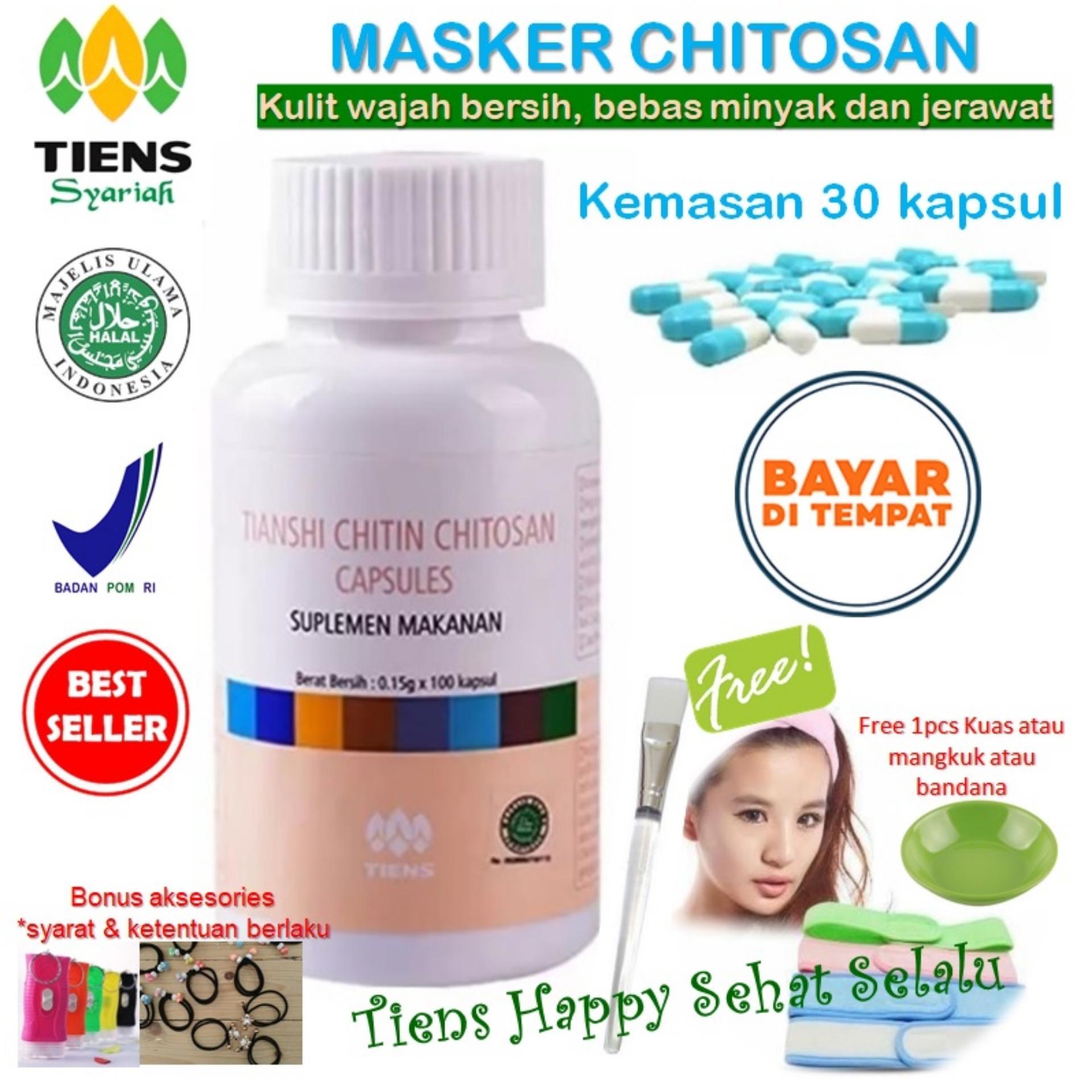 Harga Tiens Masker Chitosan Herbal Anti Jerawat Paket 30 Kapsul Tiens Happy Gratis Kuas Tiens Terbaik