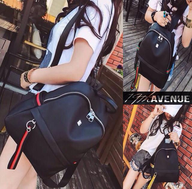 Tas Backpack Branded Wanita Cantik Berkelas  Tas Wanita Korea Kulit Ransel Selempang Import Backpack Stripe AVE1939