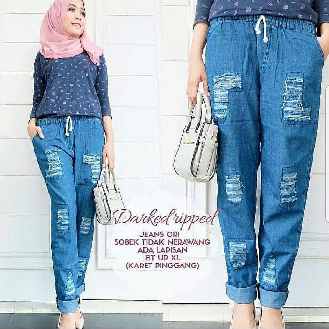 OEM Baju Original Ripped Pants Jeans Celana Panjang Cewek Kulot Wanita Muslim Joger Muslimah Murah Simple Trend 2018