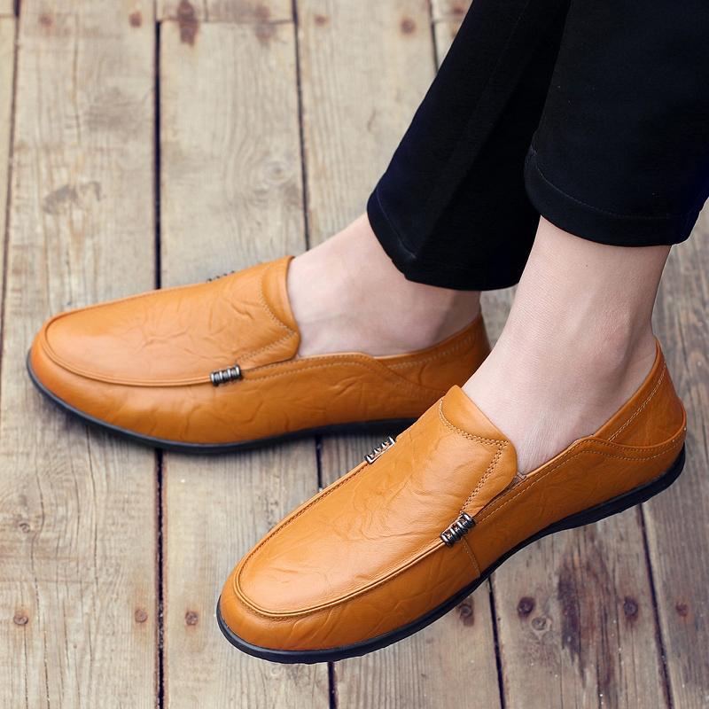 Musim gugur 2018 model baru sepatu kacang polong pria Kulit asli Kuai Shou  HONRN Harajuku sepatu 925c80abdf