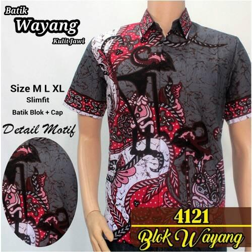 Spesifikasi Jual Baju Batik Pria Baju Batik Modern Kemeja Batik Pekalongan Hem Batik Kemeja Motif Wayang Tumpuk Merah Yang Bagus Dan Murah