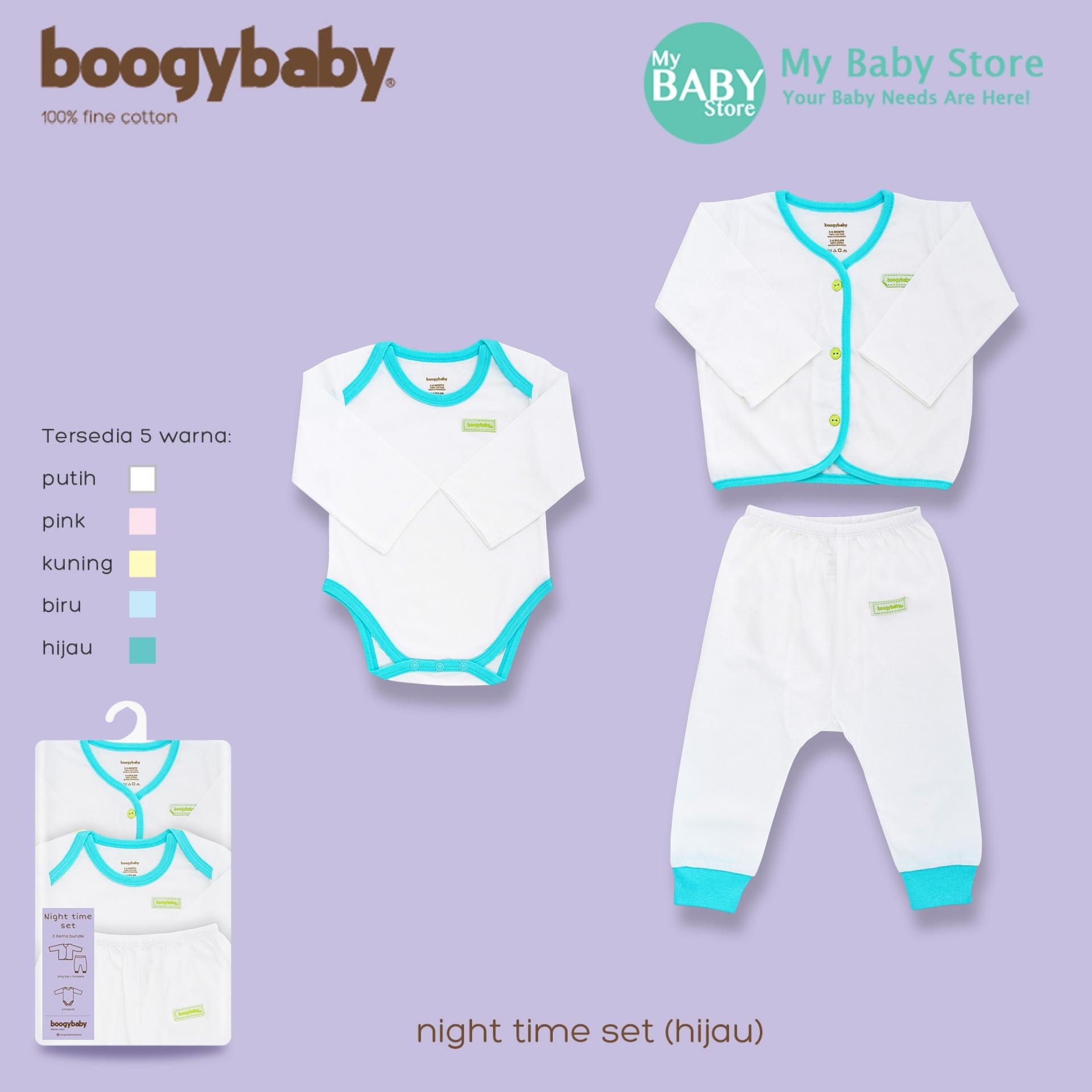 Boogybaby Paket Baju Bayi NIGHT TIME SET GREEN ( 3 Items Bundle )