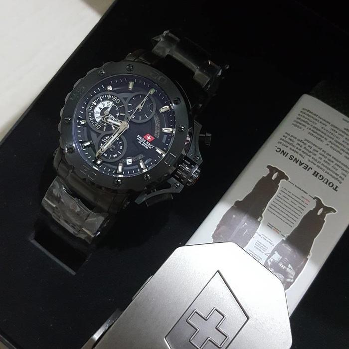 Jam Pria Swiss Navy SN 8932 Rantai Full Black Original (Model AC 9205)