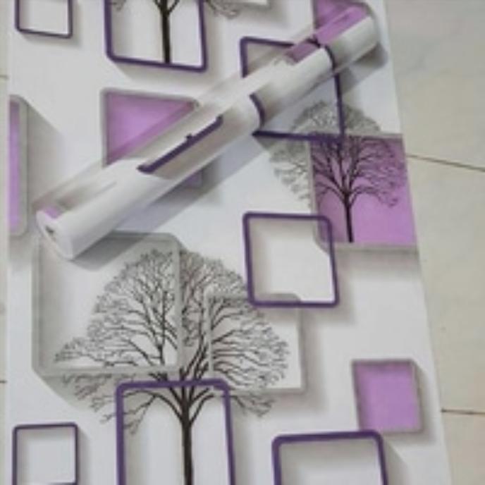 wallpaper sticker dinding motif kotak ungu