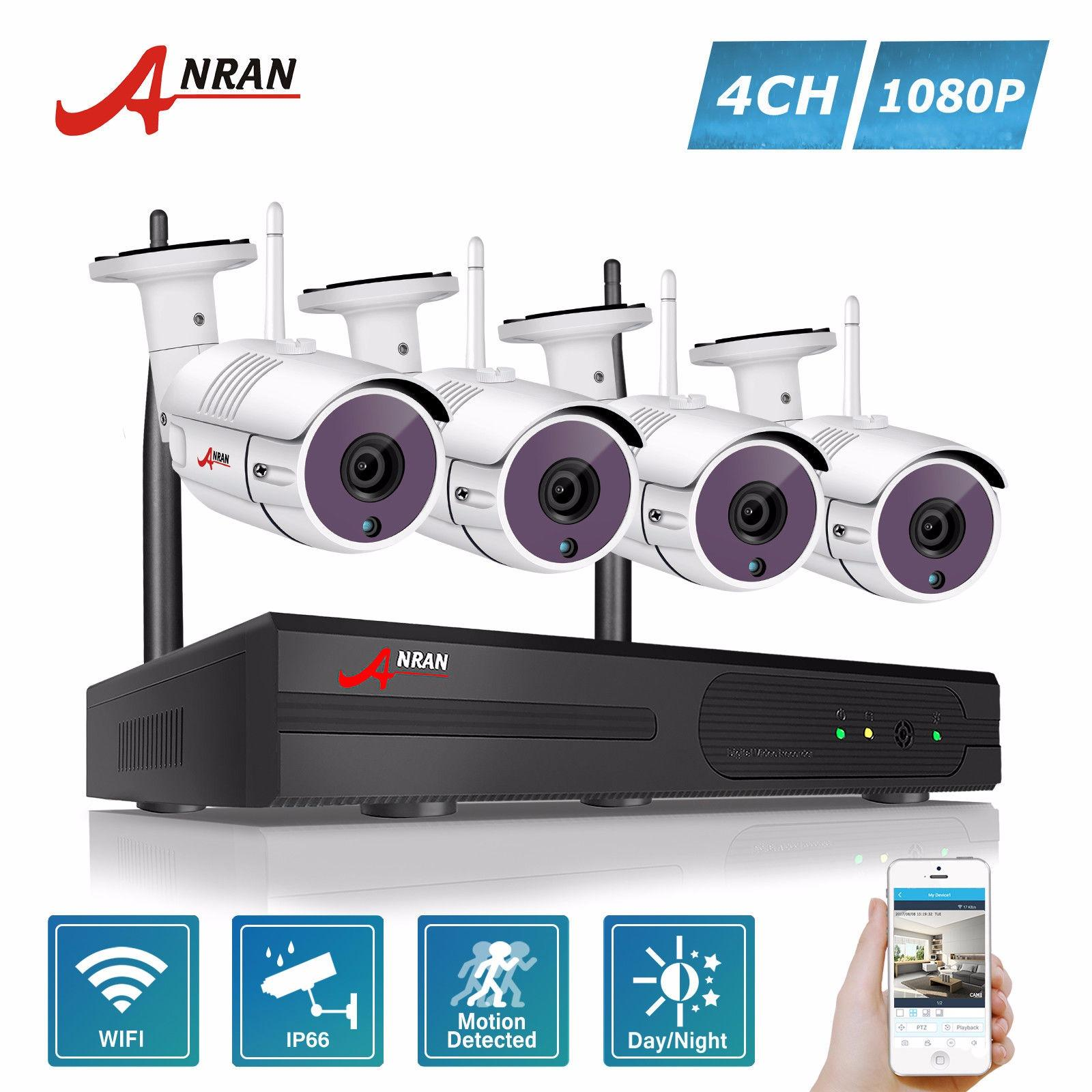 Promo Anran 4Ch Wireless Nvr Security Cctv System P2P 1080P Hd Outdoor Vandalproof Wfi Ip Camera