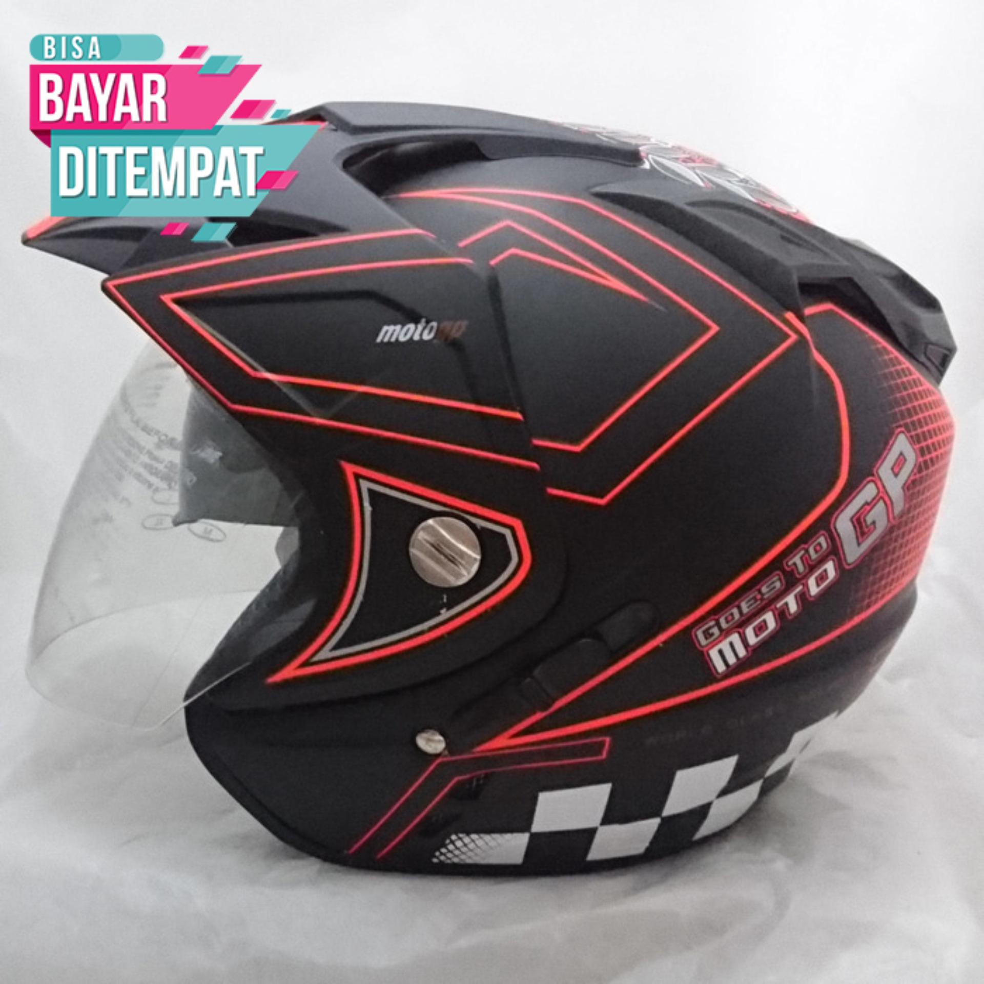 Helm Double Visor 2 Kaca DMN Moto GP Black Red
