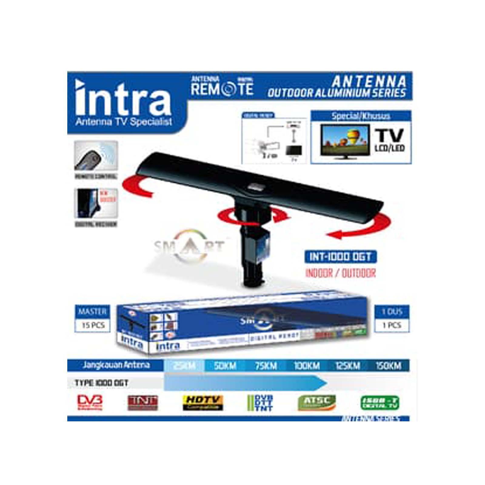 intra antena tv outdoor – smart digital antena ( hd 1080p resolution ) int-1000 dg