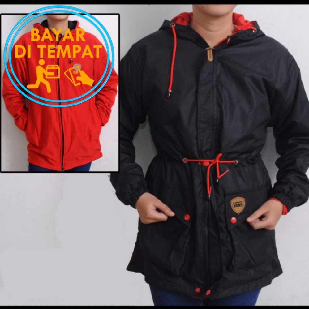 Review Jaket Murah Parka Bolak Balik Wanita Black Red Best Seller Terbaru