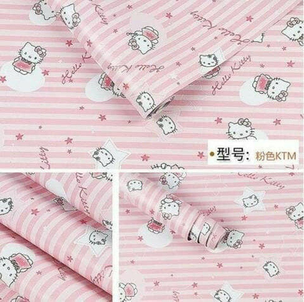 Detail Gambar Walpaper Stiker Hiasan Dinding Motif Hello Kitty Pink Muda Size 45cmx10m Terbaru