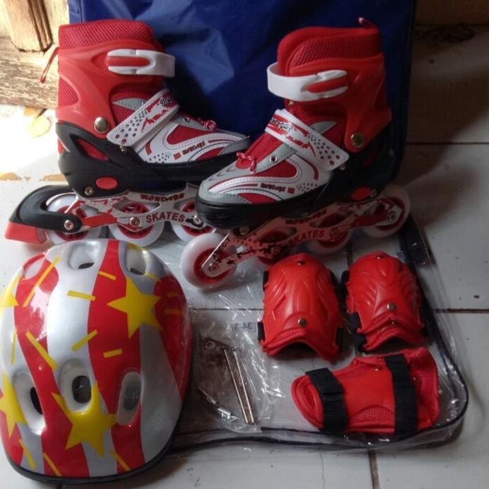 sepatu roda anak lengkap deker dan helm dan baud bajaj