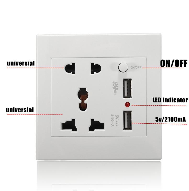 ... 2.1A Dual USB Charger Dinding Adaptor Soket Universal Outlet Daya Panel W/Switch- ...