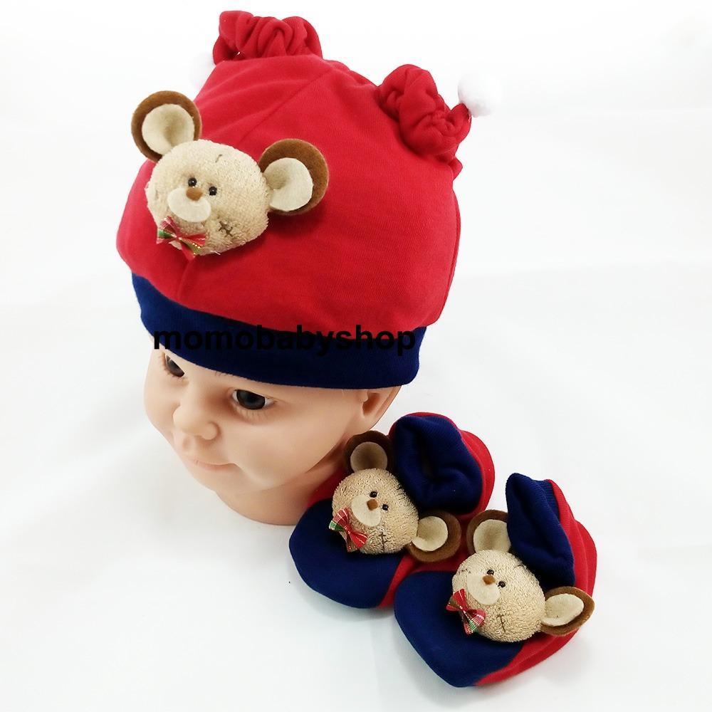 Motif WTP Kuning Merah Topi Sepatu Set Bayi Source AA Toys Okiyo.