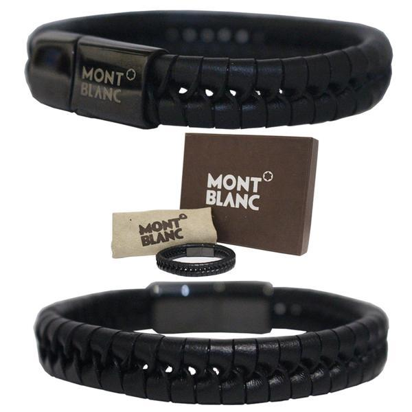 NEW PROMO Perhiasan Aksesoris Gelang Kulit Pria Man Jewelry Montblanc Man Bracelet Leather Black Murah
