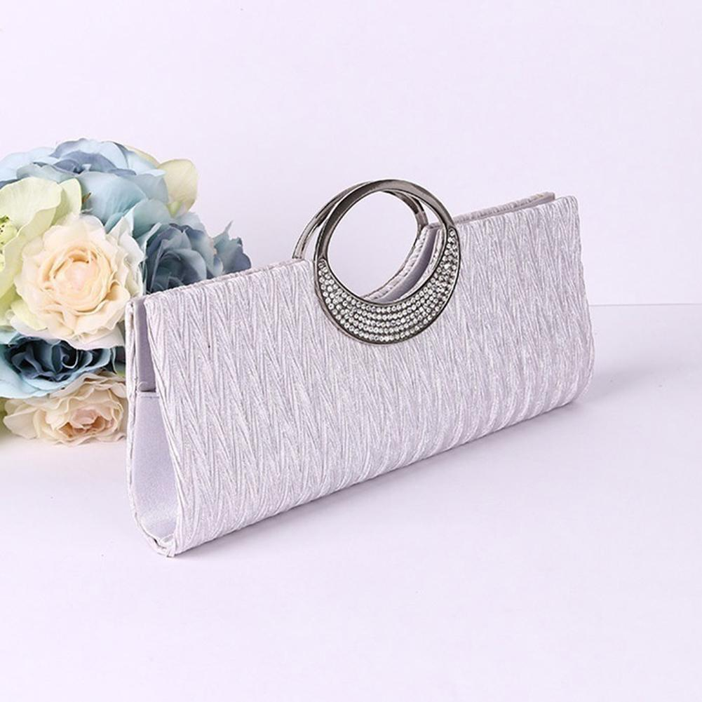 Broadfashion Cincin Mewah Berlian Imitasi Satin Malam Casing Pesta Clutch Tas Tangan