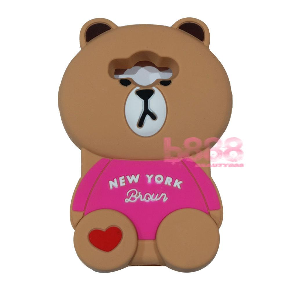 Beauty Bear Case 3D Samsung Galaxy J1 Ace Silicone 3D Brown Bear Clothes Overall Design New York / Case Boneka Baju Beruang / Casing Samsung J1 Ace Boneka Unik / Casing Samsung J1 Ace / Silikon Samsung J1 Ace - Brown Line Bear New York