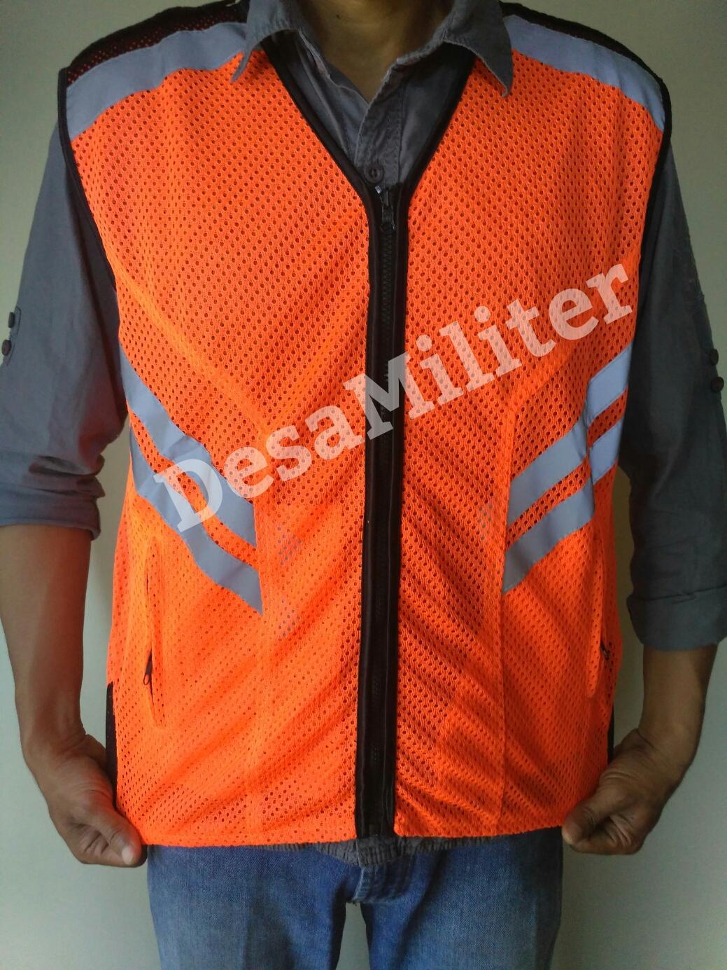 Rompi Safety Orange - Rompi Proyek - Security - Rompi Jaring - Satpam -  Rompi Touring 96d67f1c5f