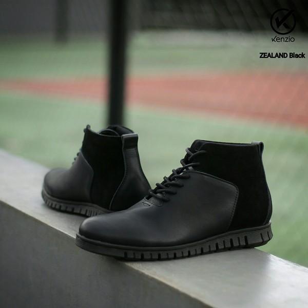 Kenzio Zealand - Sepatu Boots Kulit Asli Boot Casual Pria Formal Risleting Zipper Brodo Dr.