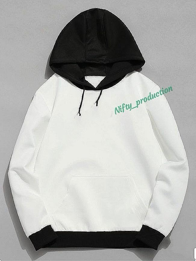 sweater pria distro - sweater hoodie - nifty21 -puti hitam