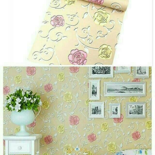 Stiker Wallpaper Dinding - Elegant Wallpaper Sticker (Size 45cm X 10M) - Batik Gold