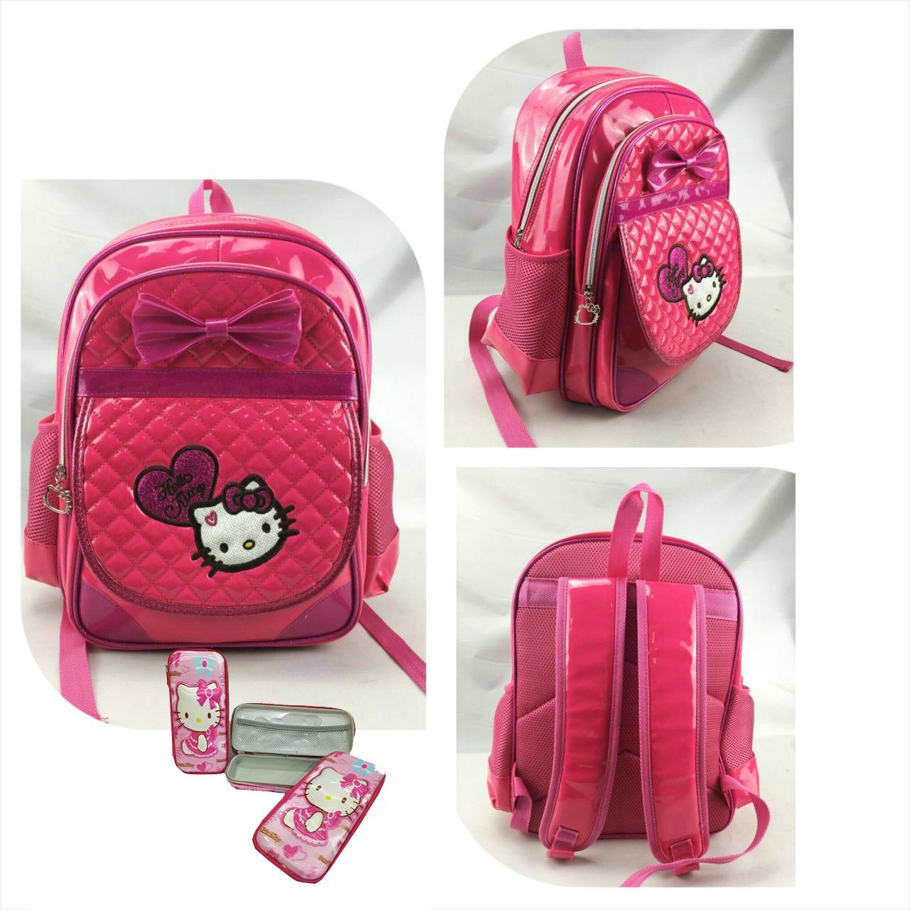 Jual Beli Onlan Tas Ransel Anak Perempuan Ukuran Sd Import Dan Kotak Pensil Timbul Pink