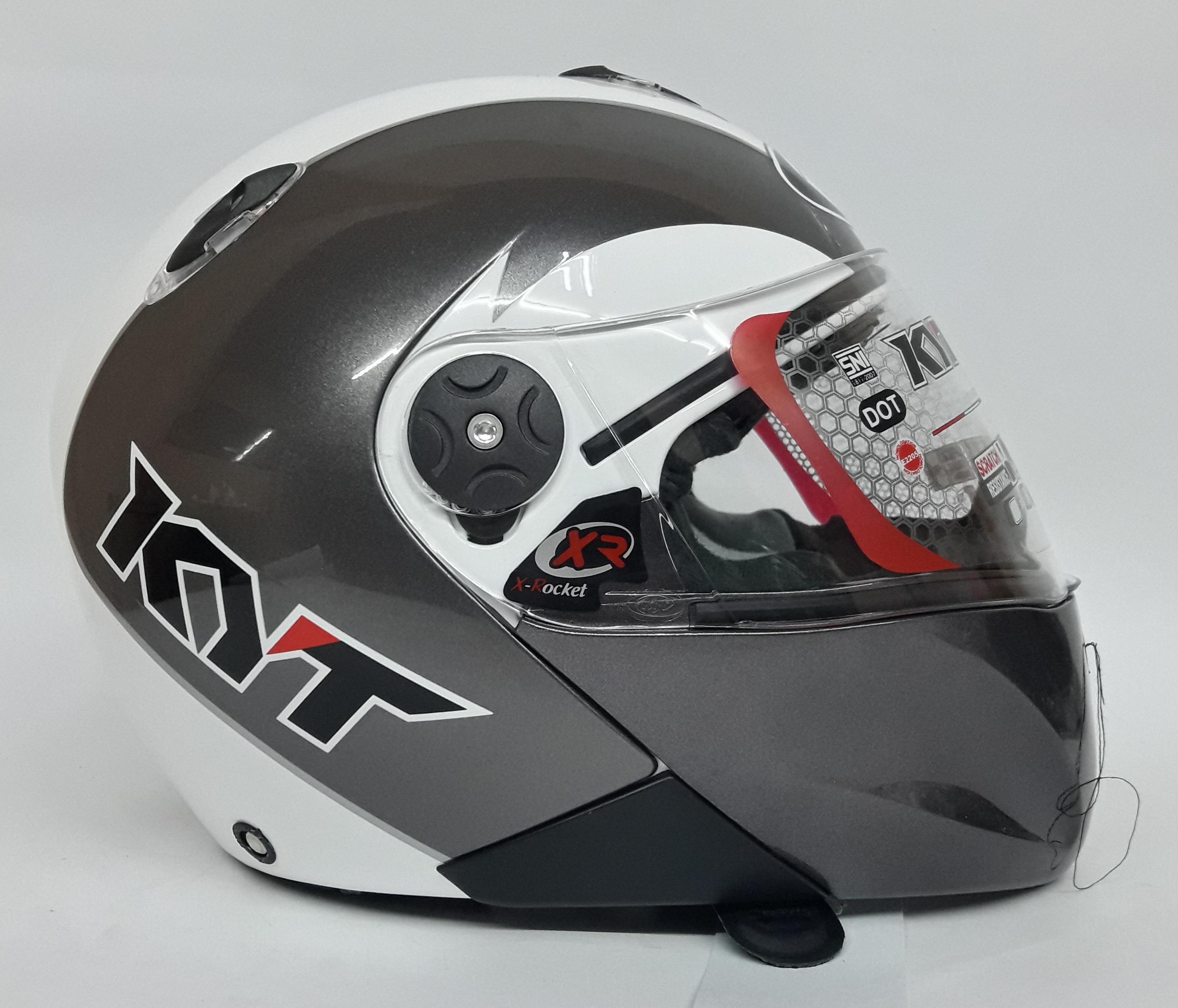 Review Kyt Rocket Helm Full Face White Gun Metal Dan Harga Terbaru Rc7 Yellow Fluo Gratis Ongkir