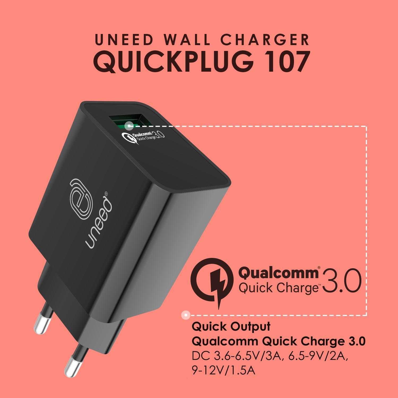 Uneed Upb8q3 Powerbank 8000mah Qualcomm Quick Charge 3 0 Black 12000mah 30 Quickbox 12 Detail Gambar Quickplug 107 Uch107 Original Terbaru