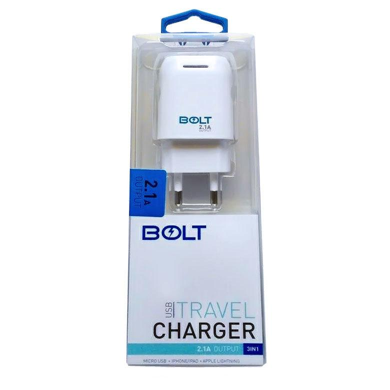 Bolt Travel Charger 2.1A Output USB Fast Charging With Kabel Data 3in1 .