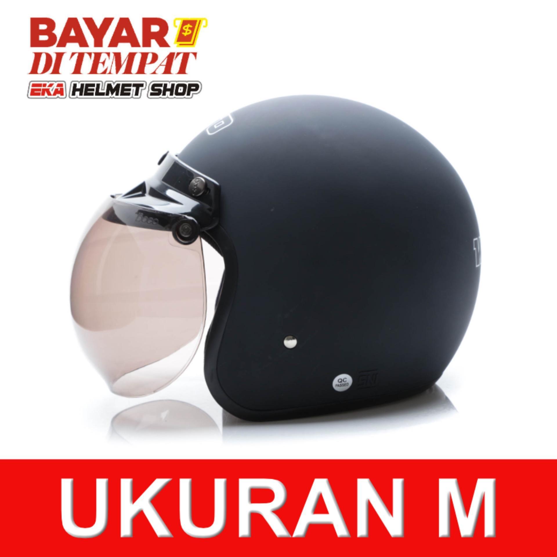 Spesifikasi Wto Helmet Retro Bogo Hitam Doff Terbaik