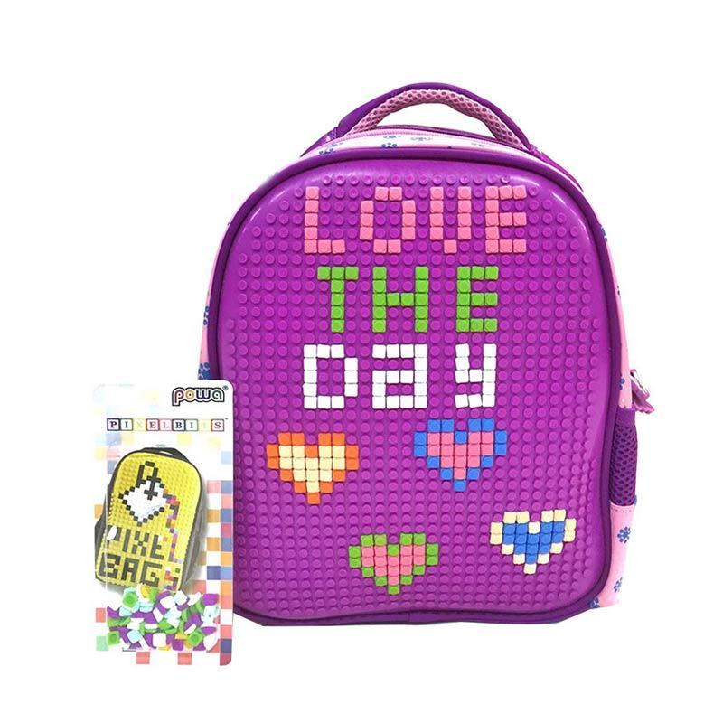[0930010587-4] Powa Tas Pixel Lego Tas Sekolah Anak TK - Ungu