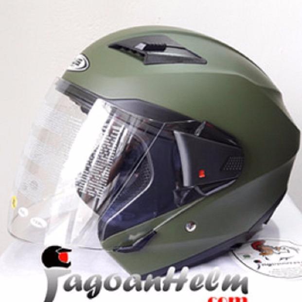 Jual Zeus Helm Zs611 Solid Matt Green Zs 611 Double Visor Online