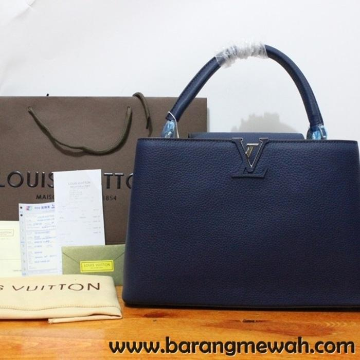 TAS LOUIS VUITTON CAPPUCINE BAG MEDIUM NAVY BLUE