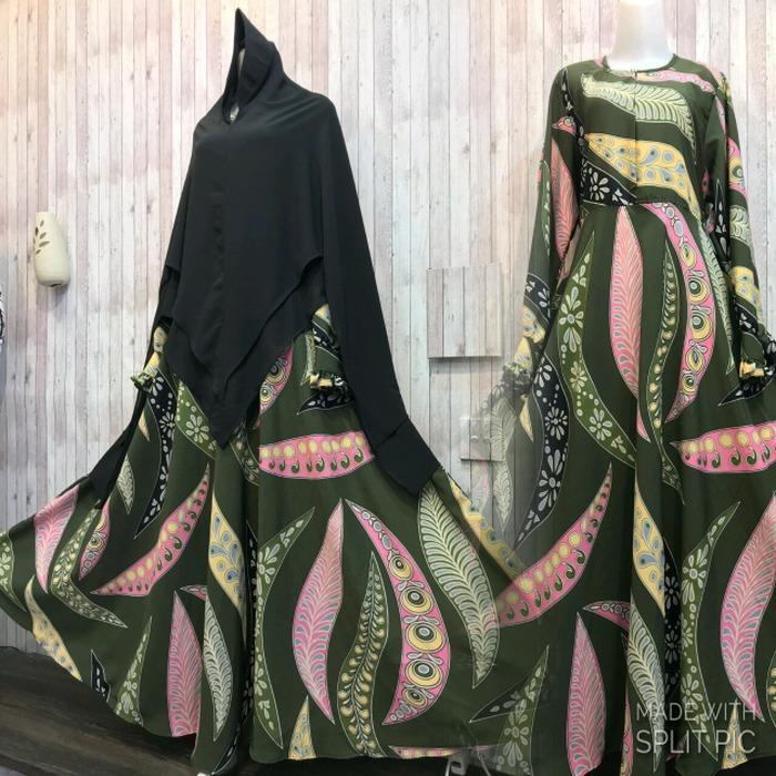 Jual Adzra Gamis Murah Syari Busana Muslim Wanita Sovia Dress Hijau Botol Indonesia