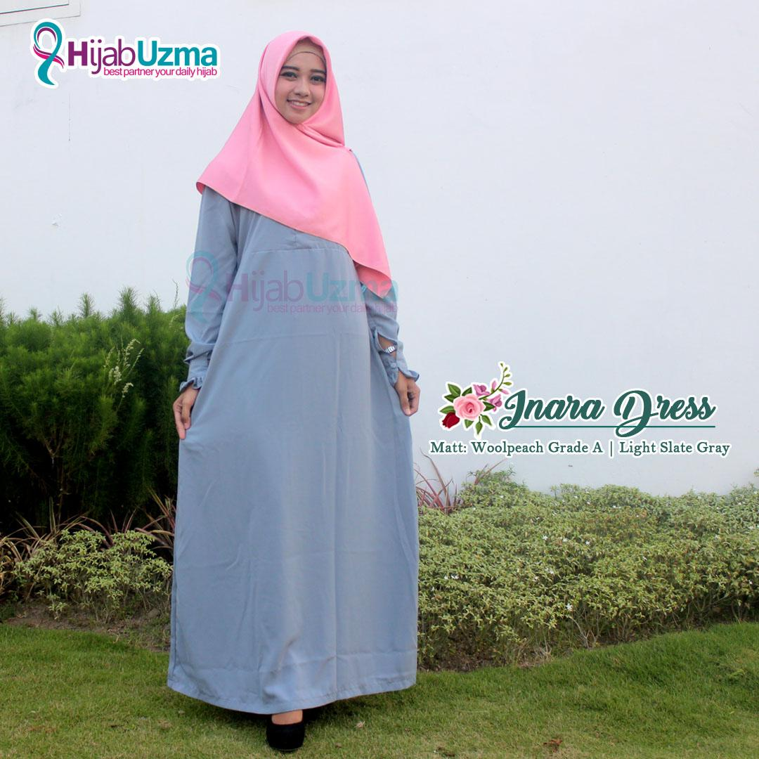 Gamis Wolfis Woolpeach Polos Inara Dress Hijab Uzma Abu Gray